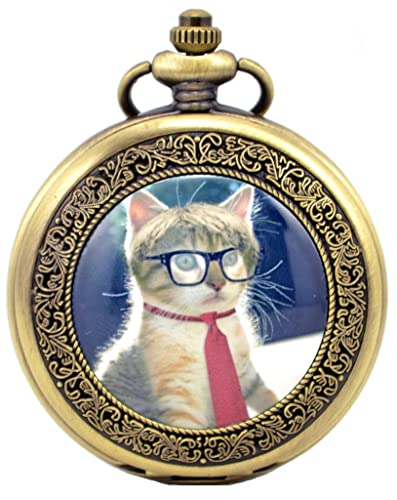 Infinite U Vintage Retro Gato/Gatito Adorable Colgante Collar Números Romanos Reloj de Bolsillo Mecánico Bronce Azul: Amazon.es: Joyería