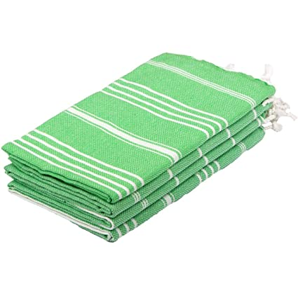 Clotho Towels Turkish Hand Towels Set of 4-20 x 40 inches (Green) for  Decorative Bathroom