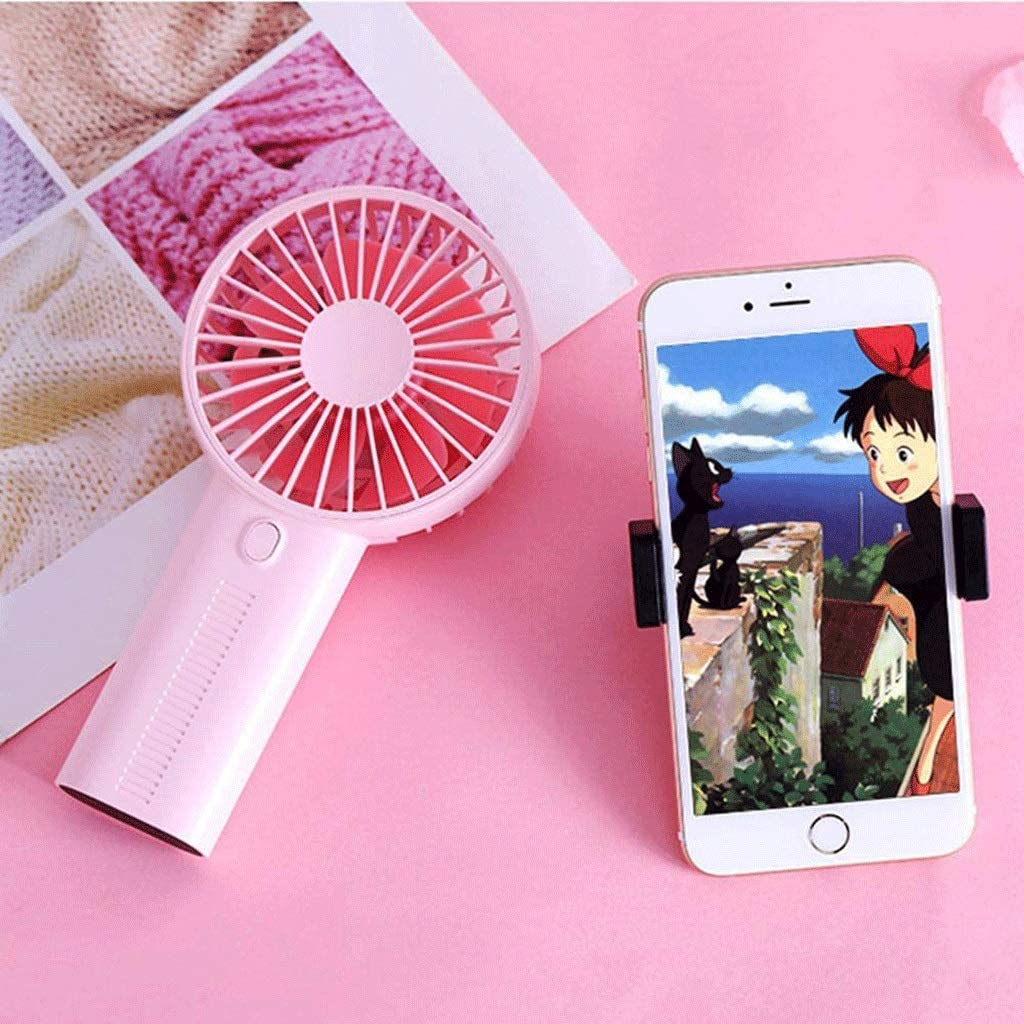 Blue for Bedroom Bed Office Desk Color : White Pink SCDFS Handheld Charging Fan Portable Phone Holder Fan Mini Desktop Fan White,Navy Blue