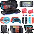 Accessories Kit Bundle for Nintendo Switch,Carry Case Hand Grips Controller