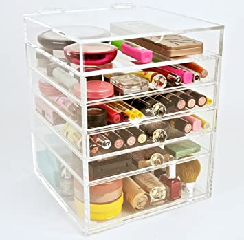 Gentil ACRYLIC MAKEUP COSMETICS ORGANIZER 5 DRAWER PLUS 1 LID BEAUTY CUBE STORAGE  (Crystal Knobs (