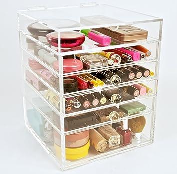 Acrylic Makeup Cosmetics Organizer  Drawer Plus  Lid Beauty Cube Storage Crystal Knobs