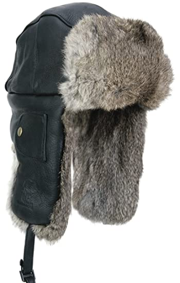 Mad Bomber Black Leather Pilot Aviator Bomber Hat Real Rabbit Fur Trapper  Hunting Cap 2c77cd838b4