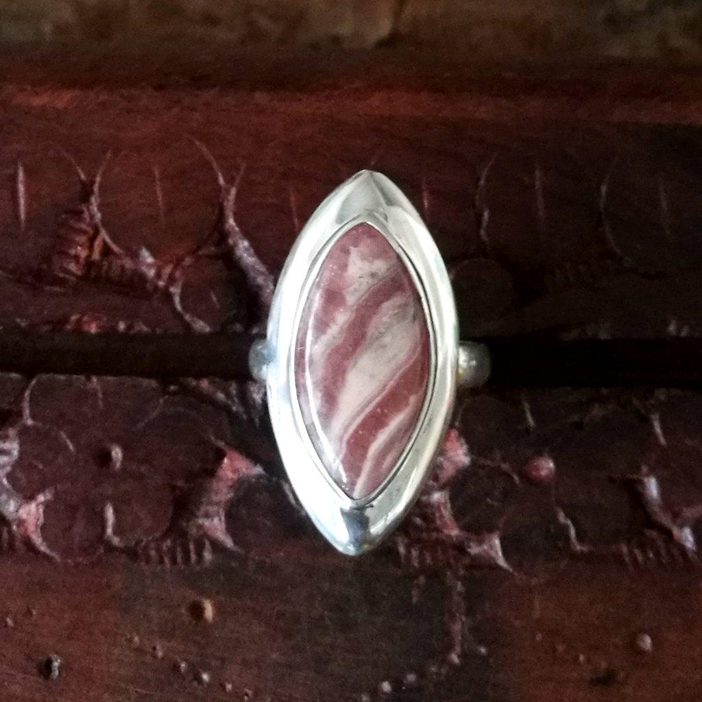CZgem Rhodochrosite 925 Sterling Silver Ring Jewelry Size 5.75 J843