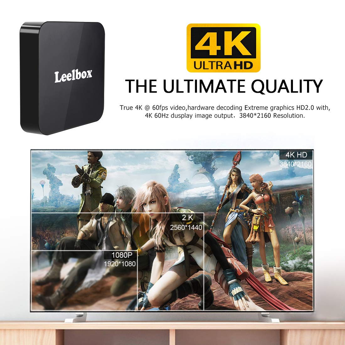 Android 8.1 TV Box, 2018 Leelbox Q2 Android Box Quad Core with 2GB RAM 16GB ROM, 2.4G Voice Remote Control Included, Support WiFi/3D/4K/H.265 by Leelbox (Image #6)