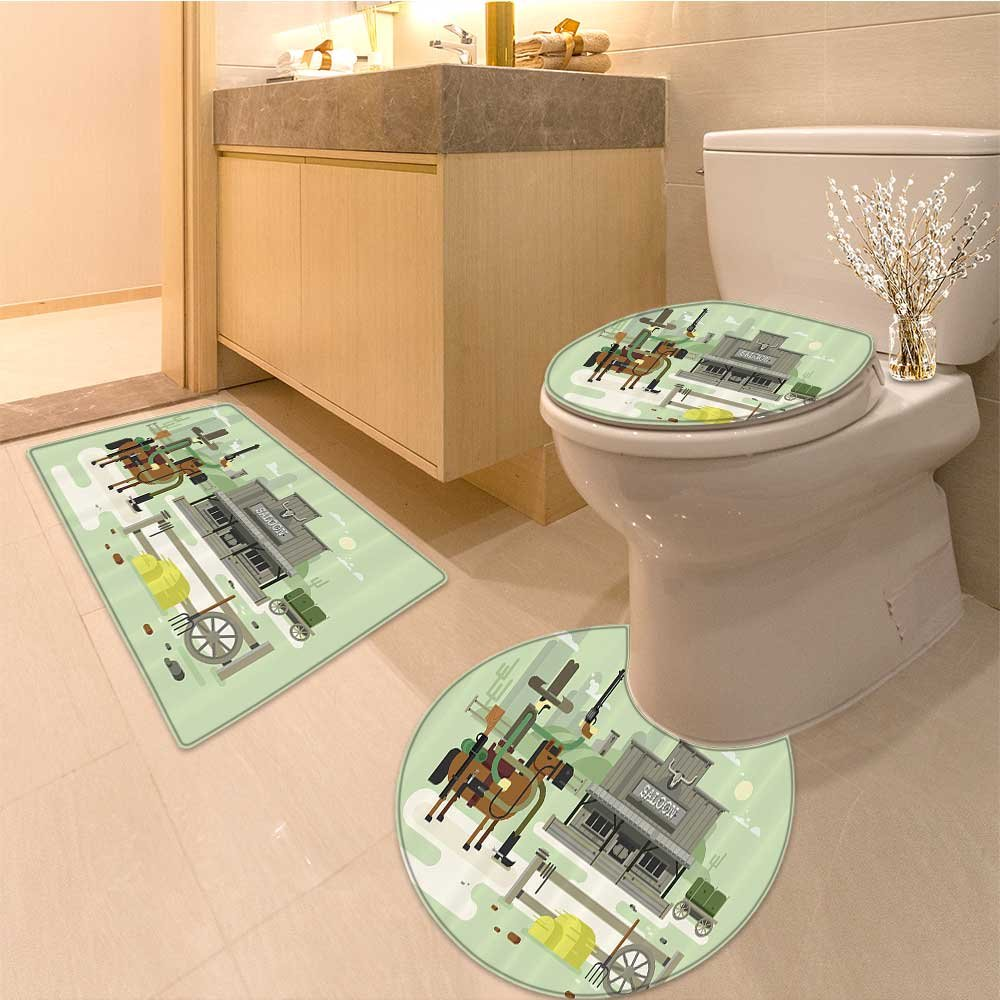 3 Piece large Contour Mat setSaloon Collection Wooden Sign Saloon and Curly Ornaments on a Wood Wal Classic Americ Bathroom Rugs Contour Mat Lid Toilet Cover