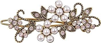 SIX Haarschmuck: Haarspange für feierliche Anlässe, Hochzeitsschmuck in Antik-Optik, Perlen und rosa Strass-Blumen, ideal für Hochsteckfrisu (329-580)