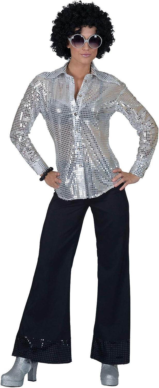 Generique - Camisa Disco de letejuelas Plateadas Mujer M: Amazon.es: Juguetes y juegos
