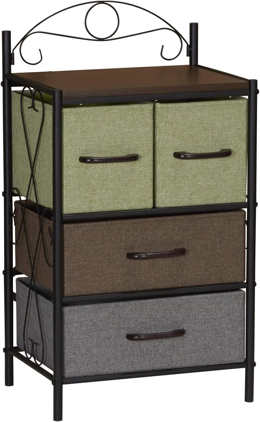 Household Essentials 8042-1 Victorian 4 Drawer Side Table | Storage Nightstand or Entryway Shelf