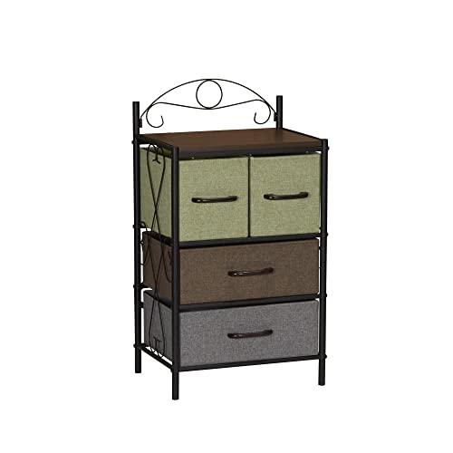 Household Essentials Victorian 4 Drawer Side Table Storage Nightstand or Entryway Shelf