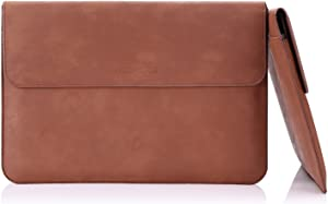 """MoKo 13.5 Inch Laptop Sleeve Case Bag, PU Leather Protective PC Notebook Case Cover Fit Surface Laptop 3 13.5""""/2/1, Surface Book 2 13.5"""", with Card Slot, Document Pocket, Surface Pen Holder - Brown"""