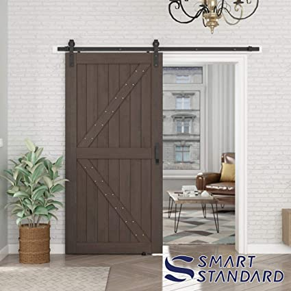 Smartstandard 42in X 84in Sliding Barn Door With 8ft Barn Door Hardware Kit Handle Pre Drilled Ready To Assemble Diy Unfinished Solid Cypress Wood