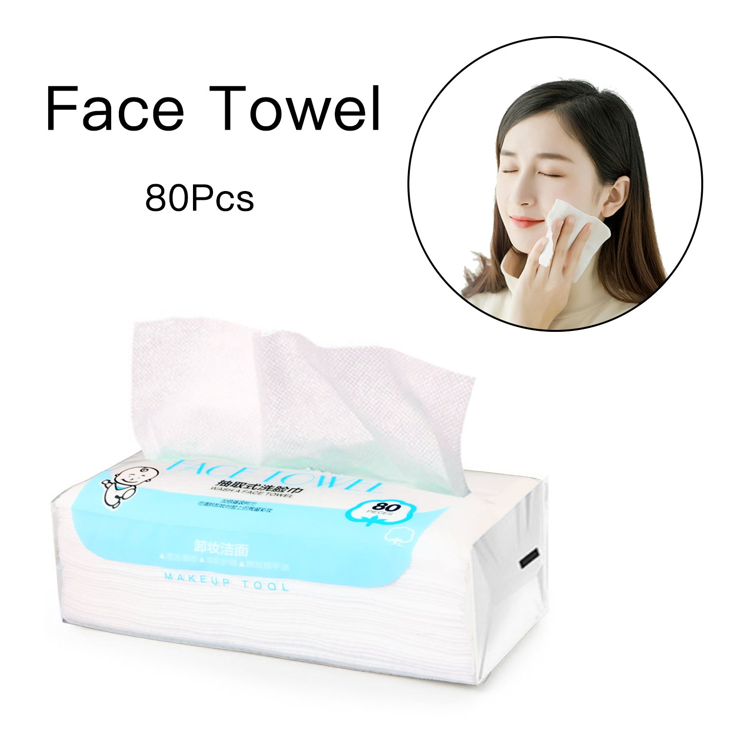 Facial Cotton Tissue Cotton Soft Towel Durable Multi-purpose Wipes for Cleaning Face, Makeup Remover, Baby Care, Dry Wet Amphibious 80Pcs 7.9inch×7.9inch