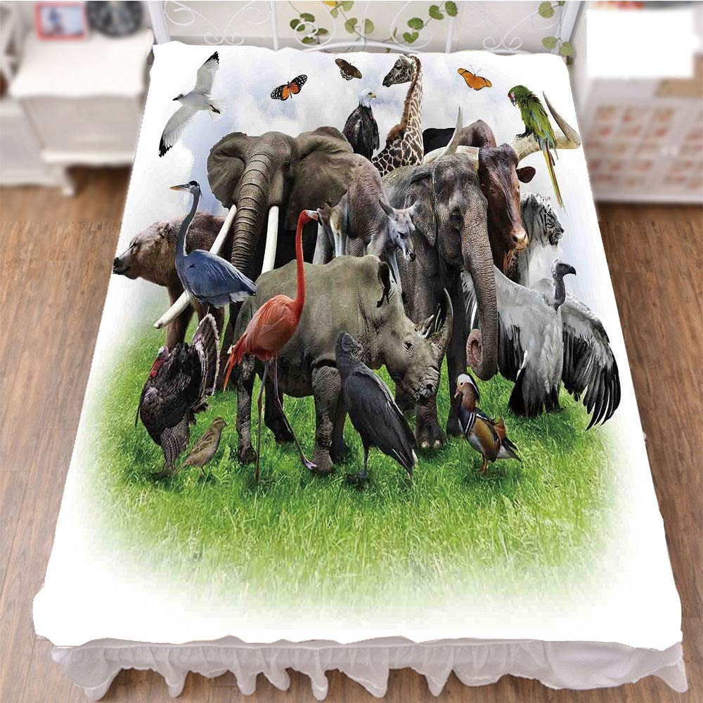 Bed Skirt Cover 3D Print,of Wild Animals with African Safari Animals Zoo,Fashion Personality Customization adds Color to Your Bedroom. by 70.9''x94.5''