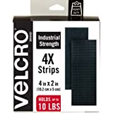 VELCRO Brand Heavy Duty Fasteners | 4x2 Inch Strips 4 Sets | Holds 10 lbs | Stick-On Adhesive Backed | Black Industrial Stren