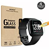 AKWOX AKWOX [4 Pack] Fitbit Versa Tempered Glass Screen Protector, [0.3mm 2.5D High Definition] Screen Protector for Fitbit Versa [9H Hardness] [Crystal Clear] [Scratch Resist] [No-Bubble]