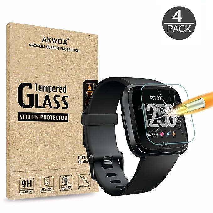AKWOX [4 Unidades] Protector de Pantalla para Fitbit Versa, [9H Dureza] Cristal Vidrio Templado para Fitbit Versa Cristal Templado: Amazon.es: Electrónica