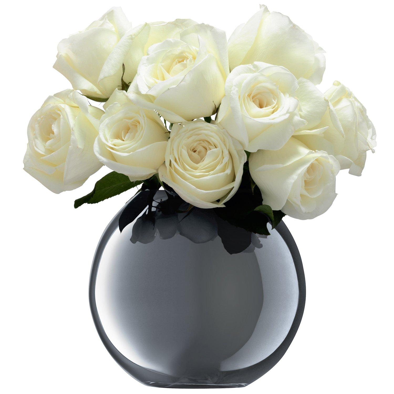 LSA(エルエスエー) フラワーベース(花器) プラチナ 高さ16cm POLKA(ポルカ) G1161-16-359 B00VA4IZWK プラチナ