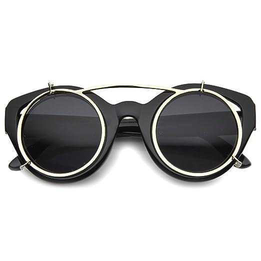 2720db65fb9d1 Retro Steampunk Clip On Floating Lens Round Cat Eye Sunglasses 46mm (Black  Smoke)