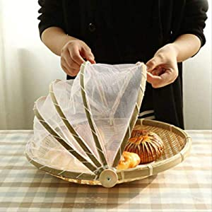 MIYVI Handmade Bamboo Woven Bug Proof Wicker Basket Dustproof Picnic Fruit Tray Food Bread Dishes Cover with Gauze Panier Osier
