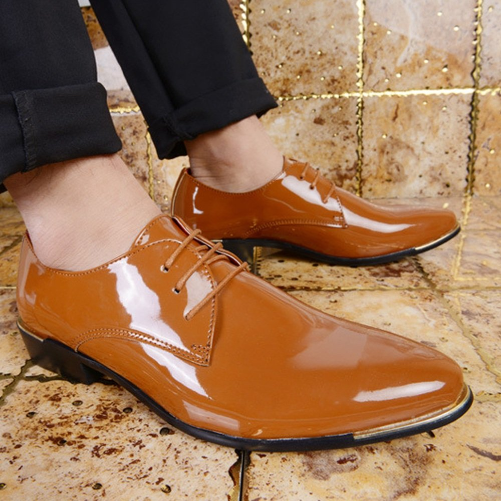 Elegdy Mens Formal Oxfords PU Patent Leather Low Block Heel Lace Up Loafer Shoes Large Size Driving Shoes