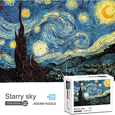 1000 Pieces Jigsaw Puzzles for Adults Kids Floor Puzzle Intellectual Game Learning Decompression Toys Starry Night by Vincent Van Gogh Jigsaw Puzzle: Toys & Games