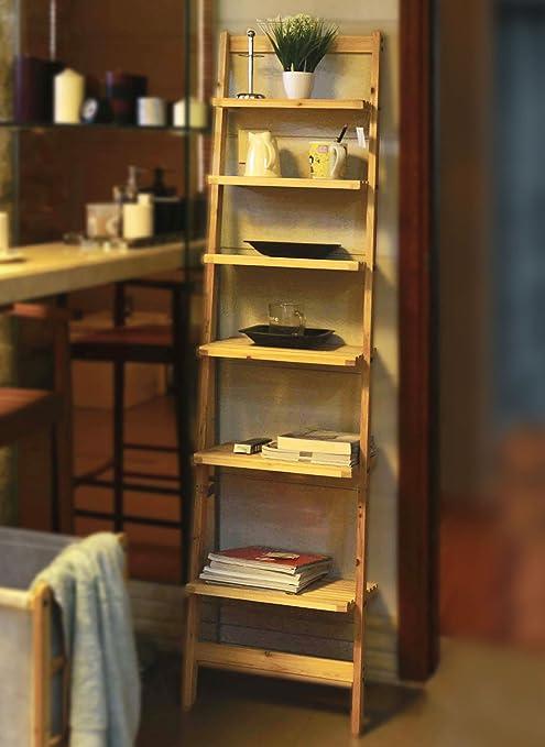 Moderna estantería en escalera de madera – Estante con 6 baldas – Estantería de cuarto de baño: Amazon.es: Hogar