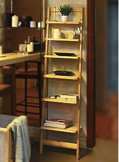 Modernes Leiterregal Aus Holz / Natur   Bücherregal Mit 6 Böden    Badezimmerregal Standregal