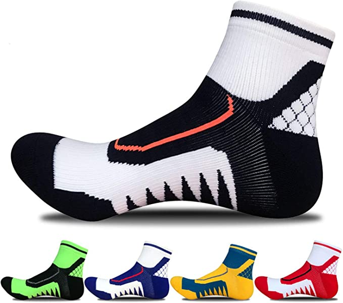 SPEEDITOP Men's 4,5 Pack Low Cut Compression Sports Athletic Cycling Tennis Running Ankle Quarter Cushioned Crew Socks