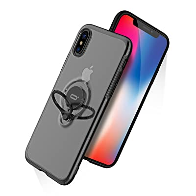DESOF iPhone X Case, iPhone 10 Case with Ring Holder Kickstand, 360°Adjustable Ring Grip Stand Work with Magnetic Car Mount Anti-Fingerprint Slim Cover for Apple iPhone X (2020) 5.8 inch - Clear