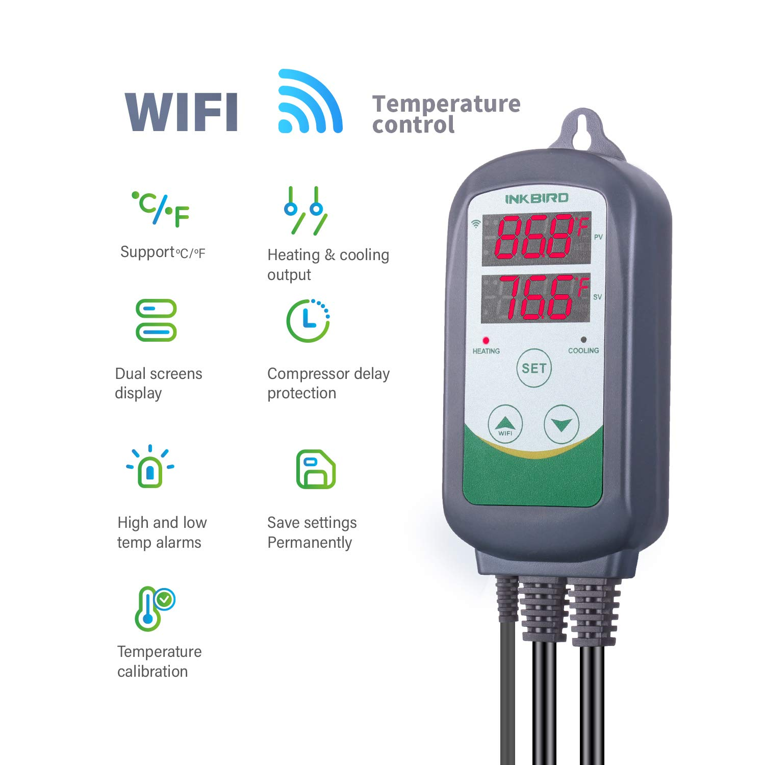 Inkbird WIFI Temperature Controller Reptile Freezer Thermostat ITC308 2.4GHz Digital Heating and Cooling Aquarium Heater Cooler Greenhouse Plug Outlet Probe Dual Stage 1100W 110V by Inkbird (Image #4)