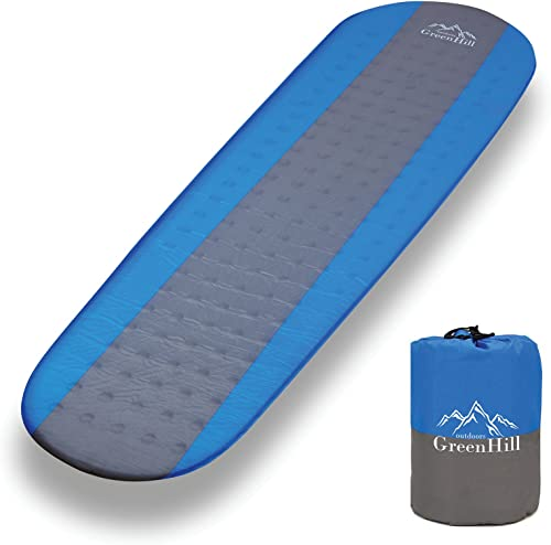 GreenHill outdoors Best'self Inflating'sleeping pad, lightweight and compact, Ideal Backpacking Sleeping mat for Camping, Hiking and Traveling Perfect in a Mummy or Envelope Sleeping Bag