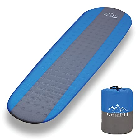 GreenHill outdoors Best self Inflating sleeping pad, lightweight and compact, Ideal Backpacking Sleeping mat for Camping, Hiking and Traveling Perfect in a Mummy or Envelope Sleeping Bag