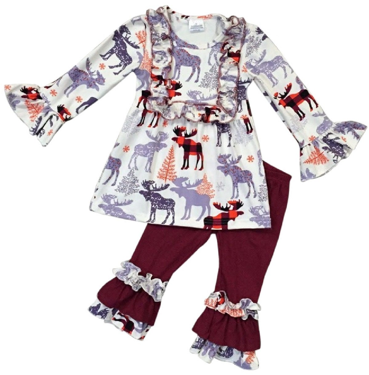 Little Girls 2 Pieces Dress Set Reindeer Ruffle Dress Legging Pant Clothing Set Off White 3T S (201148) by BluNight Collection (Image #1)