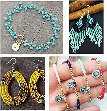 Beads f/ür DIY Armband Art /& Jewellery-Making Perlen Zum Auff/ädeln Perlenschnur Making Set mit Gitter Aufbewahrungsbox 7500 St/ück 3mm perlen f/ür armb/änder OMZGXGOD Mini Glasperlen