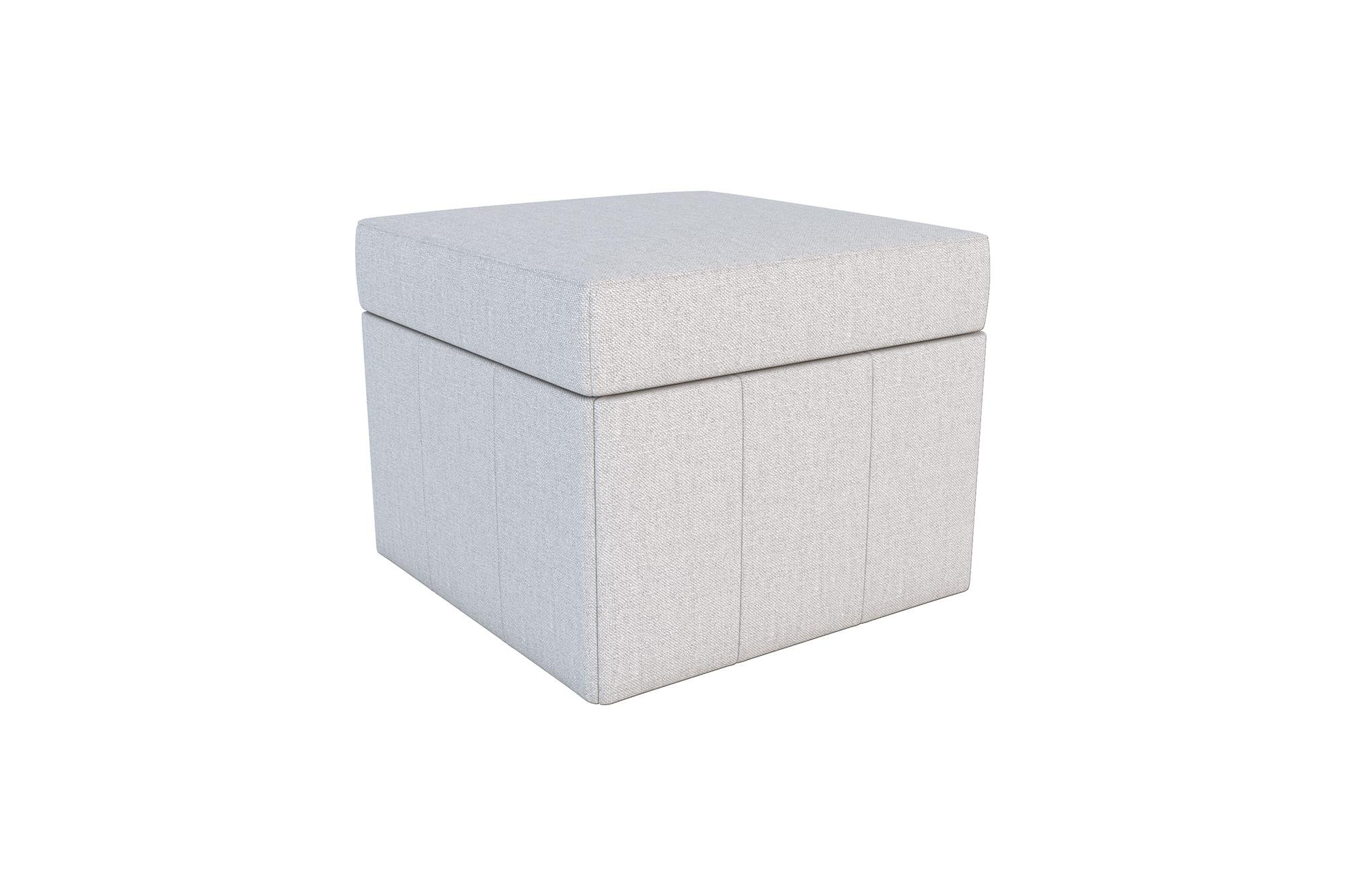 Novogratz Brittany Square Storage Ottoman, Premium Linen Upholstery, Lightweight, Grey Linen