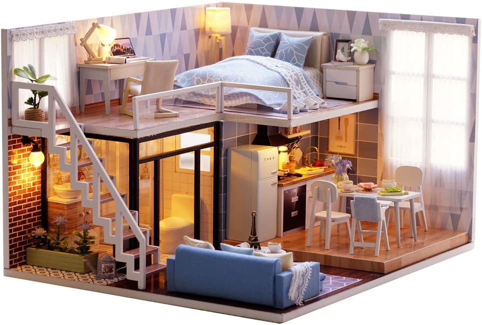 DIY Dollhouse Kit with Dust Proof LED Lights 1:32 Miniature Sunshine Study Room Dolls House Furniture Puzzle Toy Model Creative Room Hand Craft Birthday for Children Boy Girl