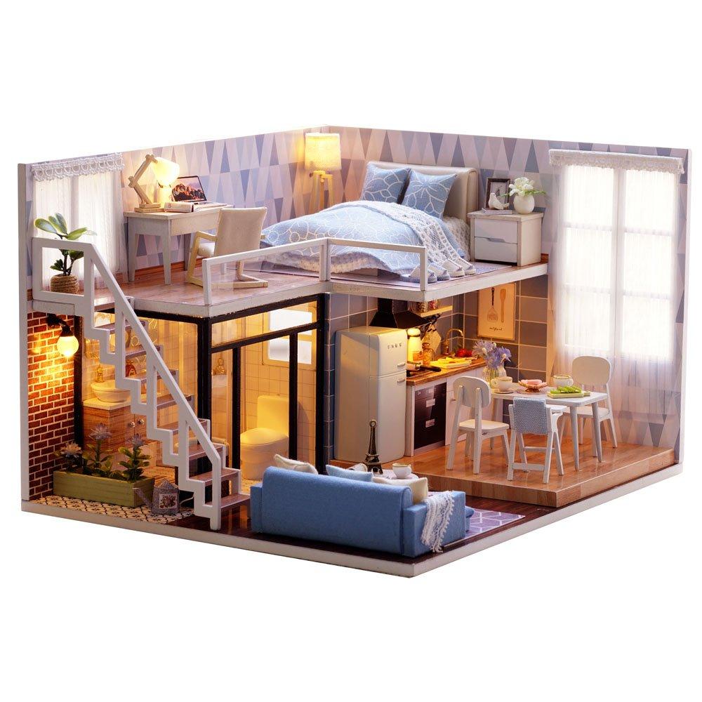 Blue Time Dust Proof Included ASIDIY 3D Wooden DIY Dollhouse Miniature DIY Doll House Kit with Furniture,1:24 DIY Dollhouse Kit