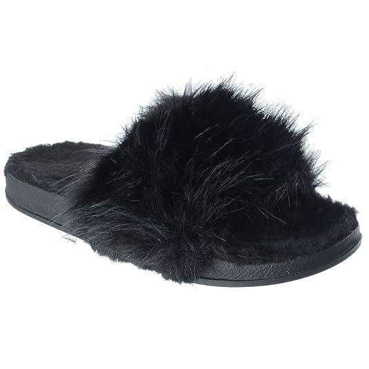 Miss Image UK Nuovo da Donna Comodo Basse Pelo Morbidi Passanti Pantofole Sandali Scarpe Flip Flop Taglia - Nero, 37
