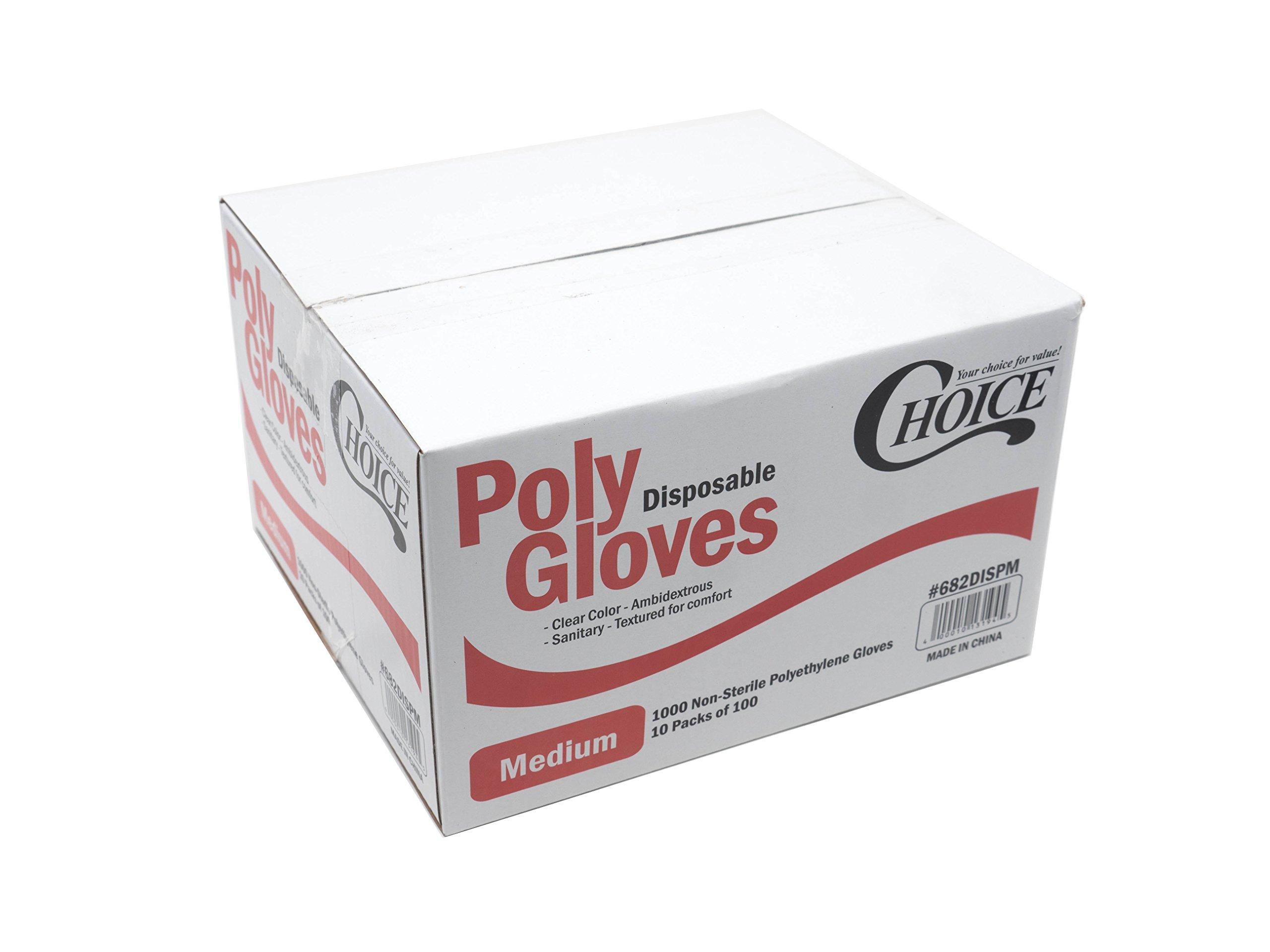 Choice Poly Disposable Polyethylene Gloves (Pack of 1000 - Medium)