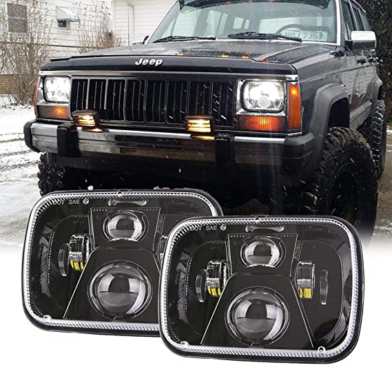 Pack of 2 Yorkim 5x7 LED Headlights H6054 Headlight 7x6 inch Sealed Beam Square Headlamp with High Low Beam Dot Lights for Jeep Wrangler YJ Cherokee XJ 6054 H5054 H6054LL 6052 6053