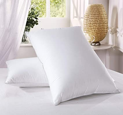 Luxury Duck Feather Pillows 2 Pack Large Comfortable Hotel Quality 100 Cotton Highliving Standard White