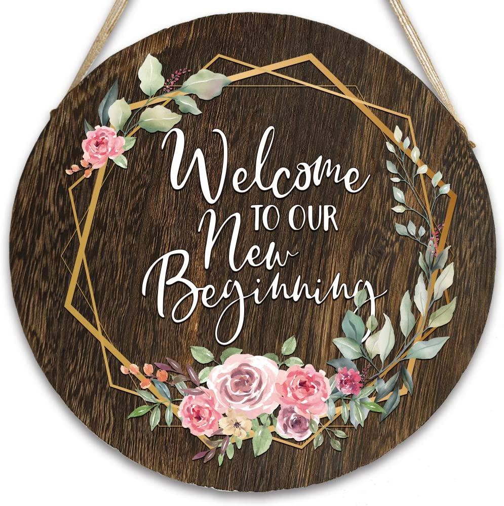 vizuzi Housewarming Gift Welcome to Our New Beginning Front Door Hangers Hanging Sign, Rustic Wood Round Hanging Wreaths Sign for Rustic Farmhouse Porch Outdoor Decor