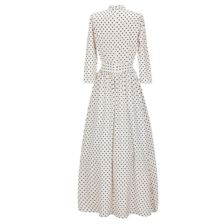 49b84f1b2 3/4 Sleeve High Mock Neck Polka Dot Long Maxi A-Line Pleated Dress Black  White at Amazon Women's Clothing store: