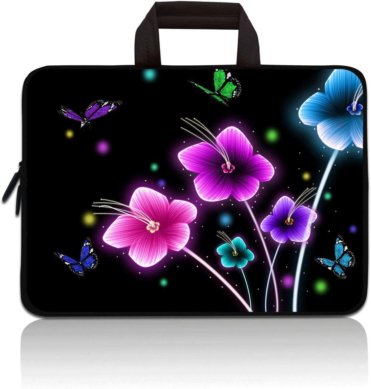 11 11.6 12 12.1 12.5 inch Laptop Carrying Bag Chromebook Case Notebook Ultrabook Bag Tablet Cover Neoprene Sleeve for Apple MacBook Air Samsung Google Acer HP DELL Lenovo Asus (Colorful Flowers)