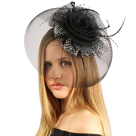SK Hat shop Big Fancy Swirl Feathers Face Veil Net Derby Wedding Headband  Fascinator Black c144577016ff