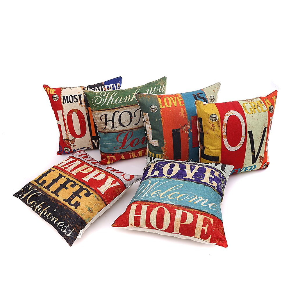 HOSL PCom03 LOVE Series Decorative Cushion Cover Square Throw Pillow Case Set of 6 - LOVE and HOPE by HOSL