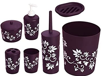 7pc Badezimmer Set Bad Accessoire Set Wc Set Lila Blume Design Set