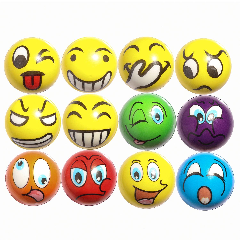 12 Antistressbälle mit lustigen Gesichtern
