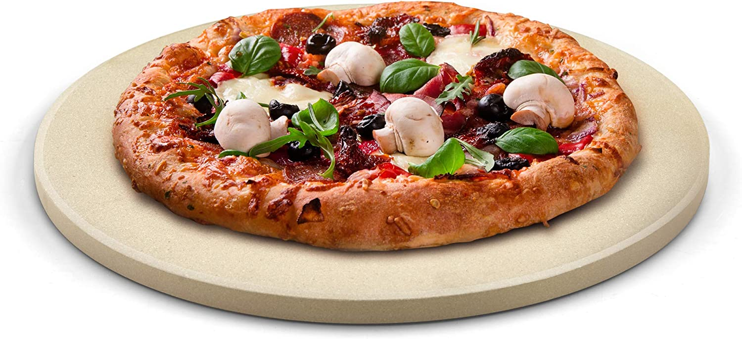Cook N Home 02662 Pizza Grilling Baking Stone, 16-inch round x 5/8-inch thick, Cream